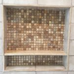 Shower square mosaic tile niche installed by vincent provenzano